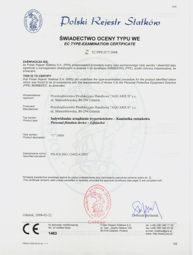 certyfikat kamizelka ratunkowa (2)